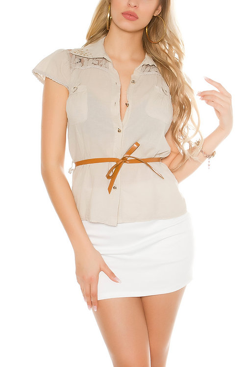 Sexy short sleeve blouse with belt