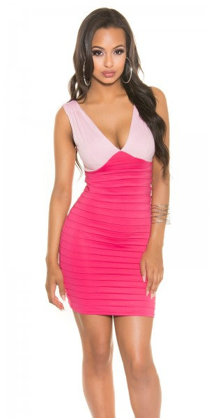 Sexy bi-coloured party dress with V-neck