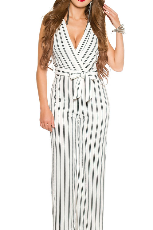 Sexy party jumpsuit with fabric belt