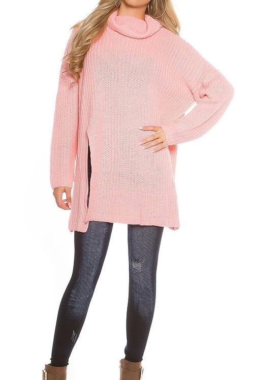 Trendy KouCla Oversize turtleneck knit jumper
