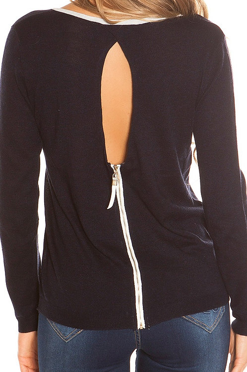 Sexy KouCla sweater with keyhole and zip