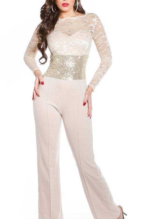 Sexy KouCla longsleeve party overall lace+sequined