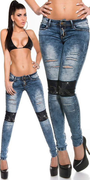 Sexy KouCla Jeans used look, Rhinestone & cracks