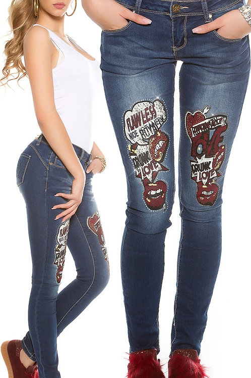Sexy push up skinny jeans with comic print