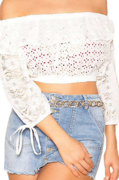 Sexy Off Shoulder Crop lace shirt