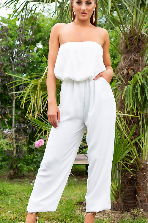 Sexy off-shoulder overall with pockets