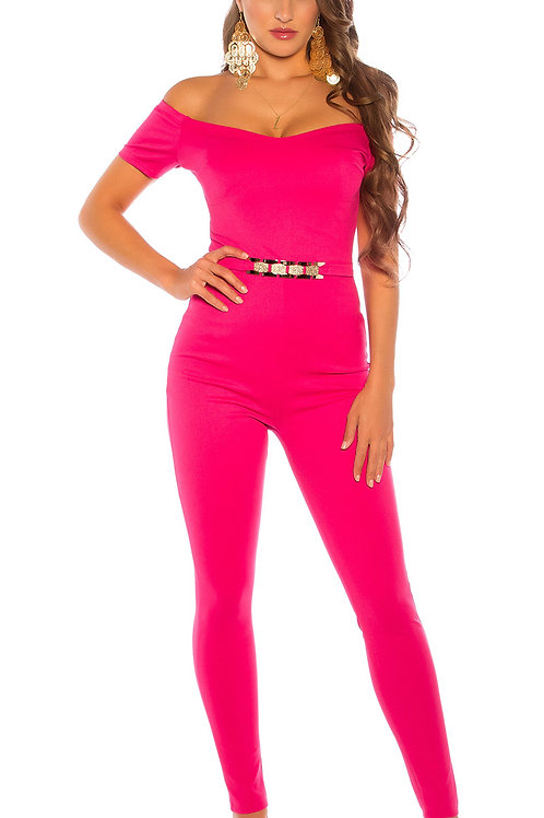 Sexy jumpsuit with golden buckle and carmen neckline