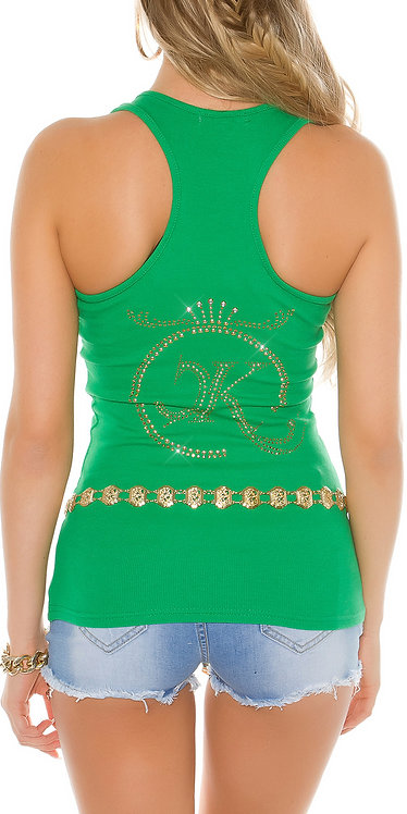 Sexy tanktop with studs and rhinestones