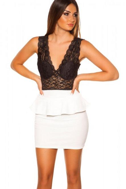 Sexy KouCla minidress with lace and peplum