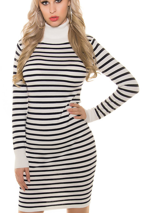 Trendy fineknitted minidress with stripes