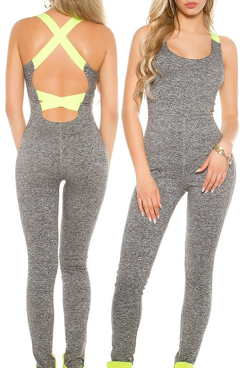Trendy workout jumpsuit with sexy back
