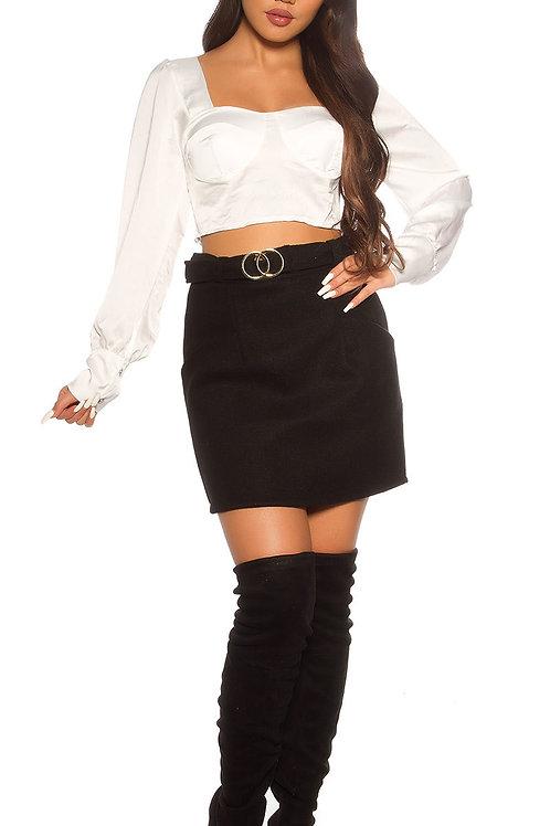 Trendy business high waist winter skirt with belt
