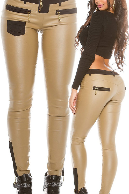 Sexy KouCla leather look pants with fabric applic.