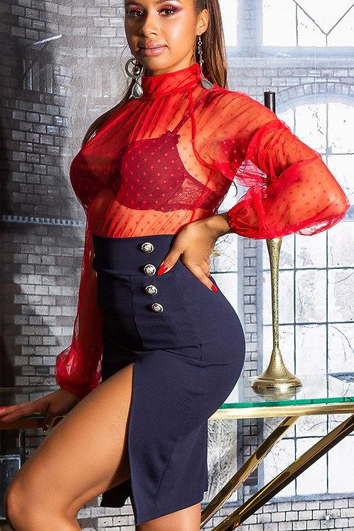Sexy high waist pencil skirt with decorative button