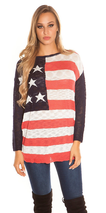 Cool Oversized knitted Jumper with US-Print