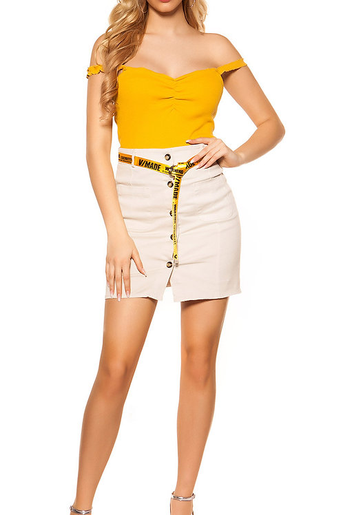 Sexy denim skirt buttoned with belt