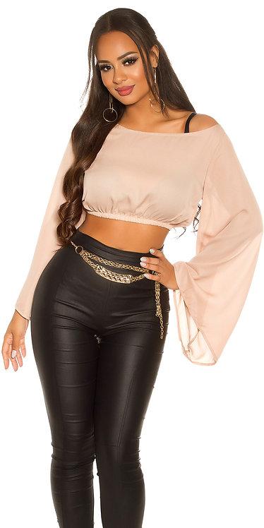 Sexy latina crop top with bat sleeves