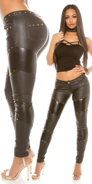 Sexy KouCla leatherlook trousers with rivets