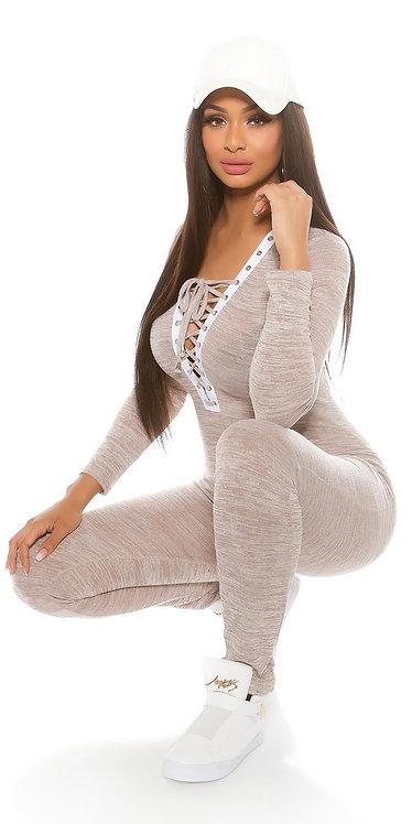 Trendy Koucla Fineknit jumpsuit with lacing