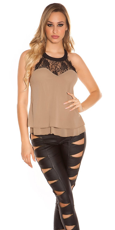 Sexy necktop double layered with lace