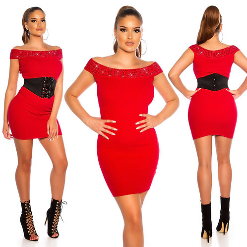 Sexy fineknitted dress with rhinestones