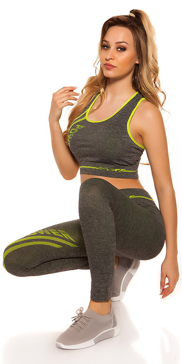 Trendy Workout Outfit, Crop top & Leggings