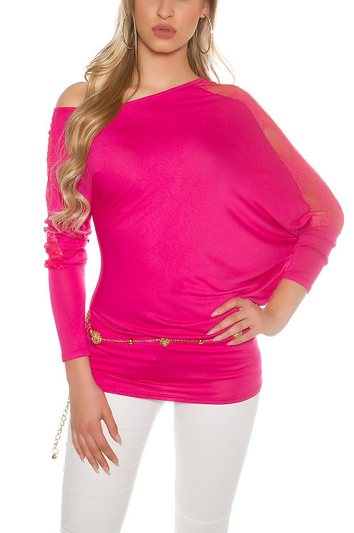 Sexy longarm shirt with lace