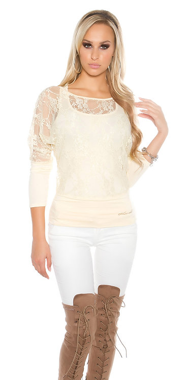Sexy 2in1 lace shirt + tanktop