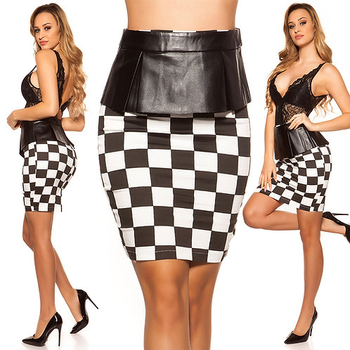 Sexy KouCla pencil skirt with removable peplum in square look