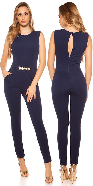 Sexy jumpsuit with golden buckle