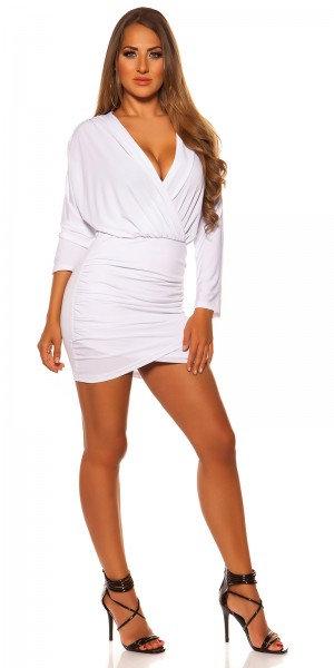 Sexy wrap look minidress with low neckline