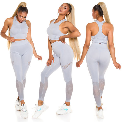 Sexy sporty set crop top+push up leggings with net details