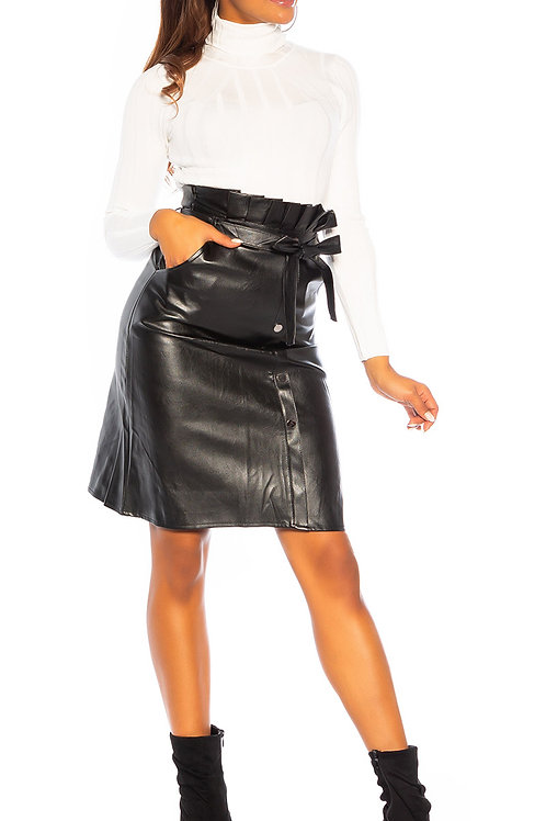 Sexy high waist faux leather midi skirt with belt
