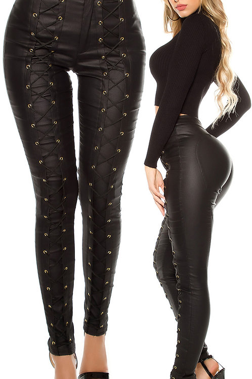 Sexy Koucla leather look trousers with lacing