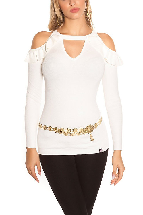 Sexy KouCla Coldshoulder V-Cut Sweater with Volant