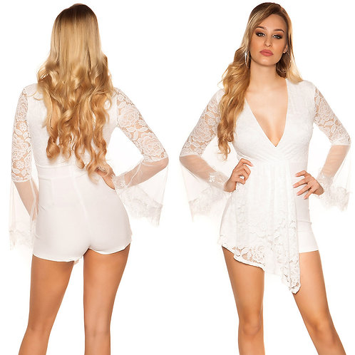 Sexy playsuit with bell sleeves and lace