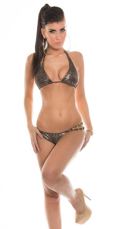 Sexy neck bikini with chains