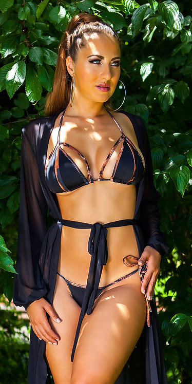 Sexy neck bikini with removable pads