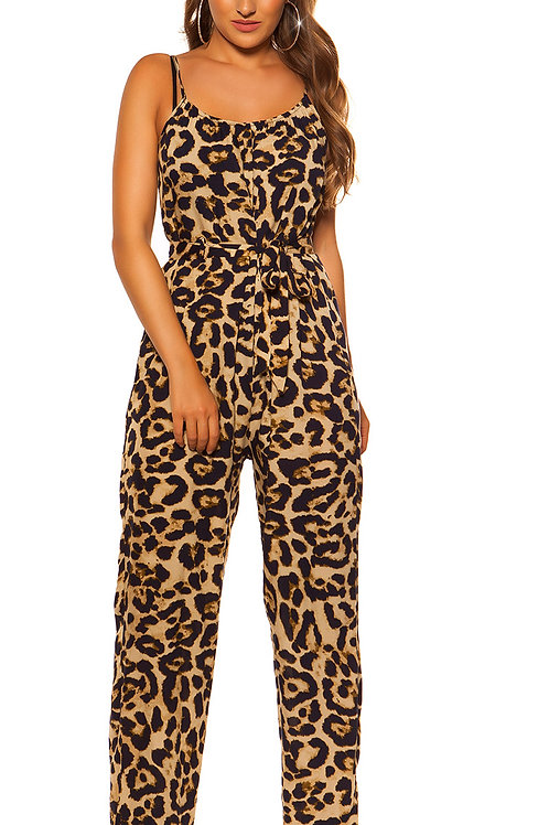Sexy animal print jumpsuit with belt