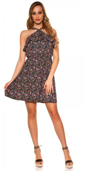 Sexy minidress with floral pattern and flounce
