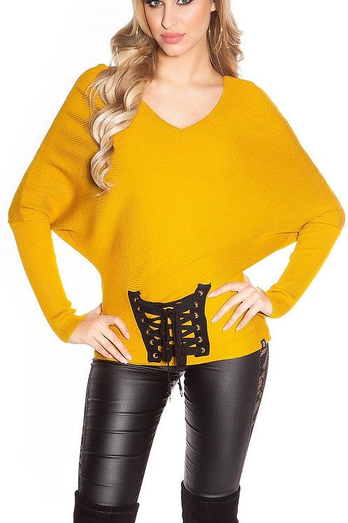 Trendy KouCla bat sweater with lacing