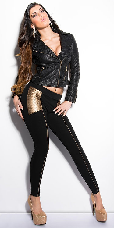 Sexy treggings with leatherlook-applications