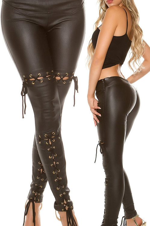 Sexy KouCla leatherlook trousers with lacing