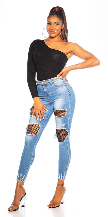 Sexy highwaist jeans with net patches