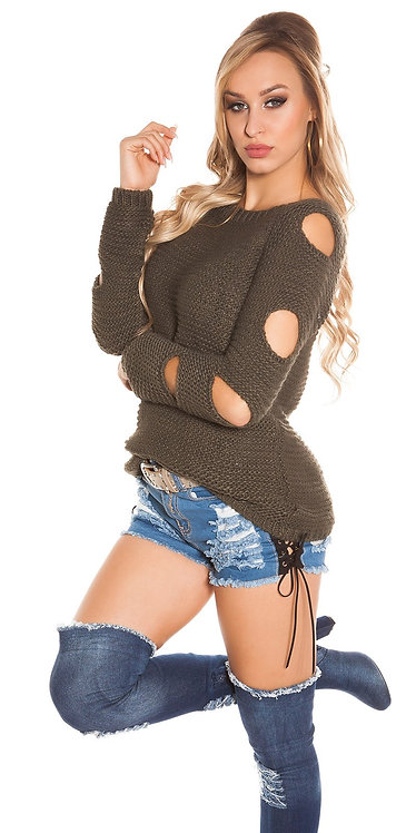 Trendy KouCla knit sweater with holes