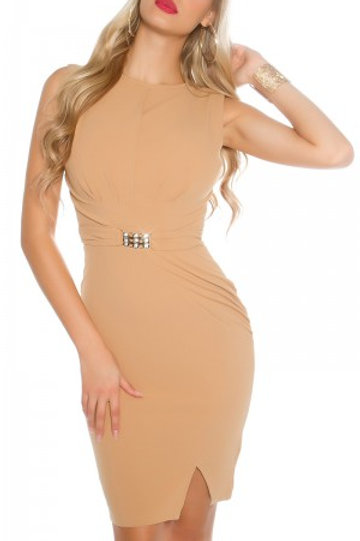 Sexy sheath dress with decorative buckle