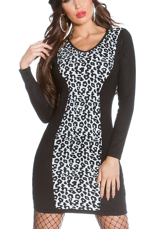 Sexy shape! Knitted minidress with leoprint
