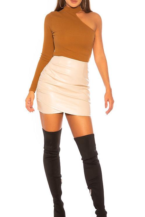 Sexy KouCla faux leather ruffled skirt