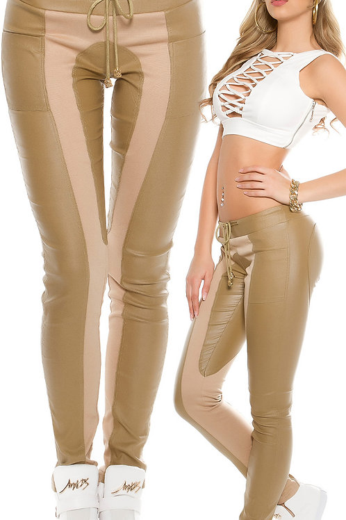 Sexy Koucla joggers in leather look and fabric app