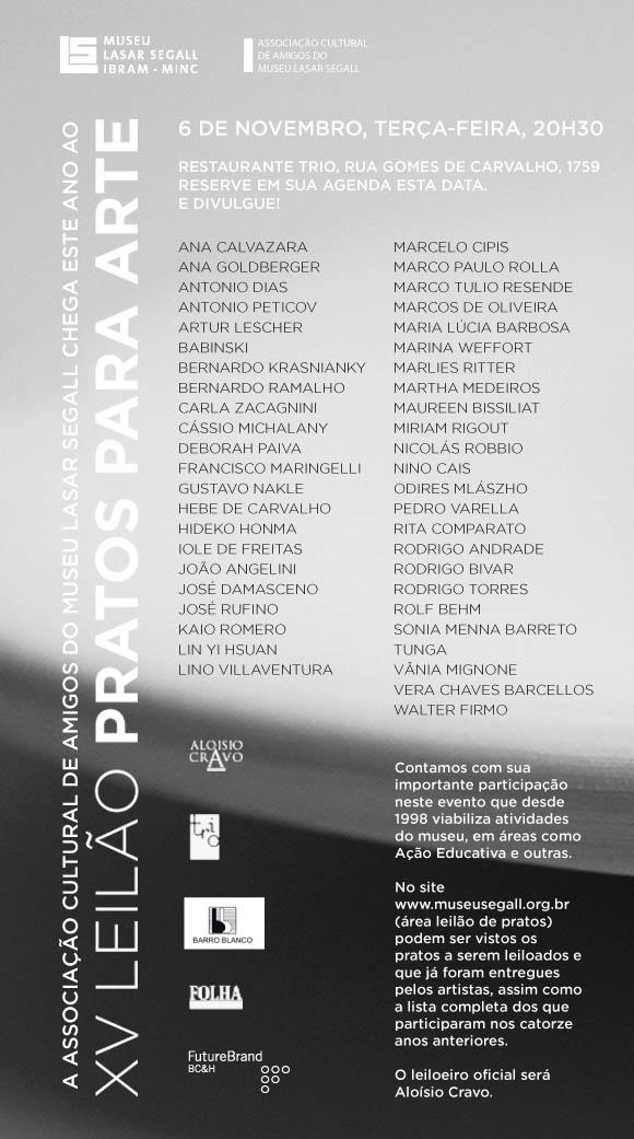 XV Leilão Pratos para Arte
